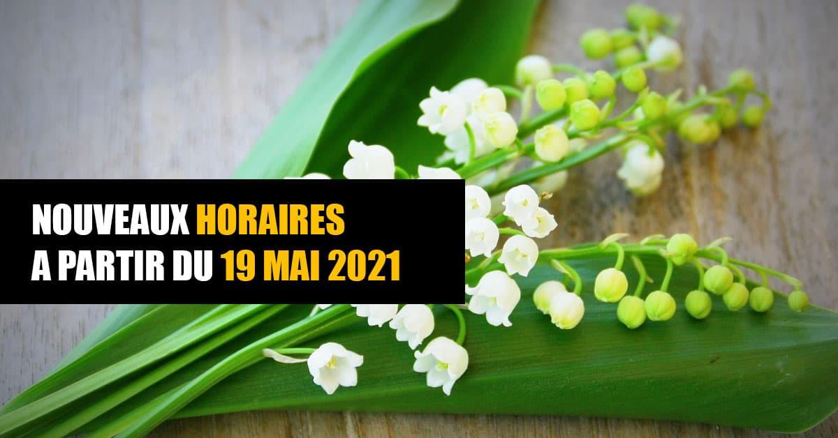 horaires pour mai 2021
